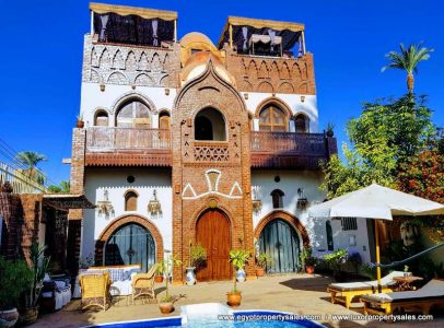 WB1802R Stunning Nubian style villa for rent with pool in Luxor